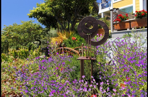 Casa Panama offers lovely gardens and yard art throughout the property.