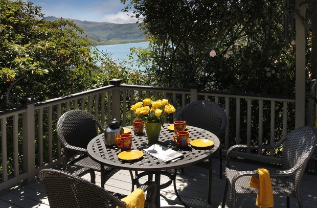 A quaint location for breakfast on the big deck.